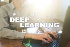 Aprendizaje de m?quina profundo, inteligencia artificial en f?brica elegante o soluci?n de la tecnolog?a fotografía de archivo libre de regalías