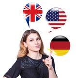 Aprendizaje del concepto de los idiomas extranjeros Imagen de archivo libre de regalías