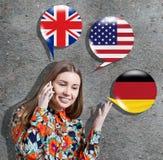 Aprendizaje del concepto de los idiomas extranjeros Foto de archivo libre de regalías