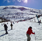 Aprendizaje del esquí Fotos de archivo