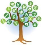 Aprendizaje del logotipo del árbol stock de ilustración