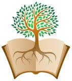 Aprendizaje del logotipo del árbol del libro stock de ilustración