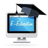 Aprendizaje a distancia - PC y birrete, concep de la e-educación ilustración del vector