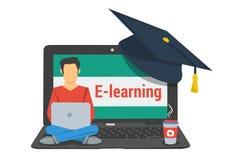 Aprendizaje electrónico del concepto, hombre que se sienta en el ordenador portátil libre illustration