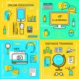 Aprendizaje electrónico, Ecucation en línea, cursos del web y concepto de las formaciones a distancia Línea fina iconos Ilustraci Fotos de archivo libres de regalías