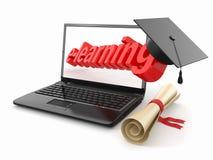 Aprendizaje electrónico. Tarjeta de la computadora portátil, del diploma y del mortero. stock de ilustración