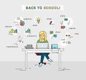 Aprendizaje electrónico y de nuevo al ejemplo de la escuela de la chica joven que usa el ordenador portátil stock de ilustración