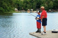 Aprendizaje pescar Fotografía de archivo libre de regalías