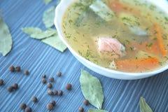 Apresentação bonita da sopa dos peixes em uma placa branca Imagens de Stock