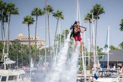 Apresentação do flyboard em Long Beach Imagens de Stock