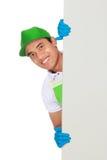 Apresentação do homem do serviço da limpeza Foto de Stock Royalty Free