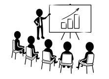 Apresentação do negócio: Orador na frente dos espectadores e do ícone de aumentação da carta ilustração royalty free