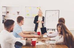 Apresentação do projeto Homens de negócios e mulheres novos dos modernos no mo Imagens de Stock