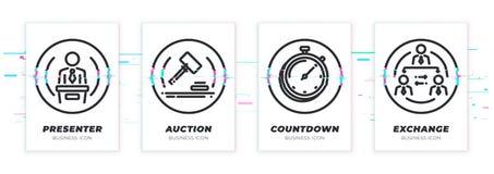 Apresentação, leilão, contagem regressiva, troca O tema do negócio glitched os ícones pretos ajustados ilustração do vetor