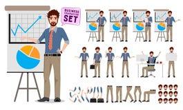 Apresentação masculina do negócio de exibição do grupo da criação do caráter do negócio ilustração stock