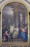 A apresentação no templo, retábulo na igreja Sant 'Antonio Nuovo em Trieste fotografia de stock