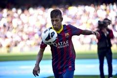 Apresentação oficial do júnior de Neymar como o jogador do FC Barcelona foto de stock
