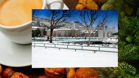 Apresentação video da mostra do cartão do inverno de Rijeka vídeos de arquivo