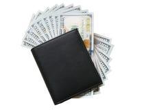 Apresentou o dinheiro e a bolsa Fotografia de Stock Royalty Free