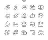 Apresse a linha fina grade 2x dos ícones 30 do vetor perfeito bem feito do pixel para gráficos e Apps da Web Fotografia de Stock Royalty Free