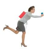 Apresse a mulher de negócio com corredor do dobrador e do copo Foto de Stock