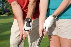 Apretón de la práctica de los golfistas - horizontal Foto de archivo