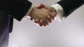 Apretón de manos de dos hombres de negocios metrajes