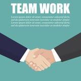 Apretón de manos de dos hombres de negocios en un diseño plano Team el trabajo libre illustration
