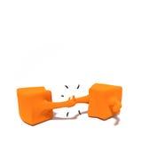 apretón de manos de la naranja de los caracteres 3d Foto de archivo