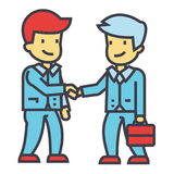 Apretón de manos de los hombres de negocios, sociedad del negocio, reunión de funcionamiento, buen concepto del trato Stock de ilustración