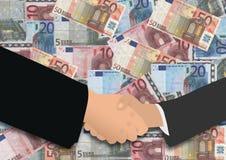 Apretón de manos del asunto en euros Imágenes de archivo libres de regalías