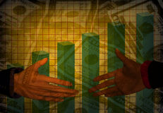 Apretón de manos del dinero de Grunge Imagen de archivo libre de regalías