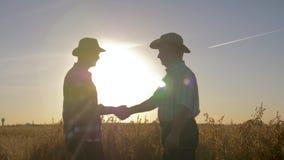 Apretón de manos del granjero y del trabajador en sombrero en puesta del sol agrícola del fondo del campo metrajes