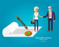 Apretón de manos del hombre de negocios en contrato ilustración del vector