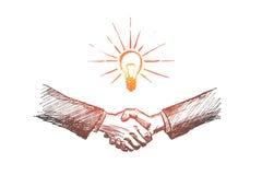 Apretón de manos dibujado mano con idea del negocio libre illustration