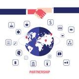 Apretón de manos e iconos para el web en concepto acertado del negocio del fondo del mapa del mundo Imagen de archivo libre de regalías