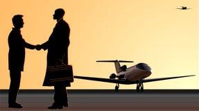Apretón de manos en el campo de aviación libre illustration