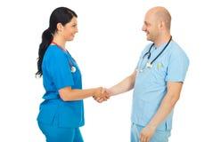 Apretón de manos feliz de los doctores Imagen de archivo