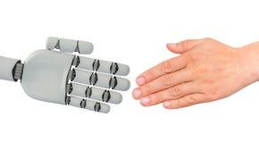 Apretón de manos de las manos del ser humano y del robot - concepto de la cooperación ilustración del vector