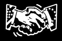 Apretón de manos los E.E.U.U. y eu Fotografía de archivo libre de regalías