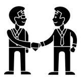 Apretón de manos de los hombres de negocios - icono de la sociedad, ejemplo del vector, muestra negra en fondo aislado ilustración del vector