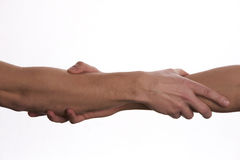 Apretón de manos moderno de dos personas masculinas Imagenes de archivo