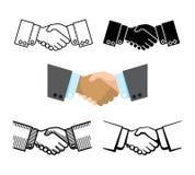 Apretón de manos, sociedad del negocio, iconos del vector del acuerdo ilustración del vector