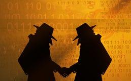 Apretón de manos virtual de los espías stock de ilustración