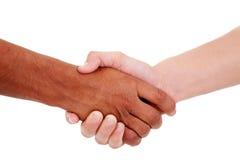 Apretón de manos, entre un hombre joven blanco y negro Imagen de archivo libre de regalías
