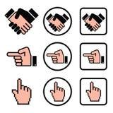 Apretón de manos, señalando la mano, iconos de la mano del cursor fijados Fotografía de archivo
