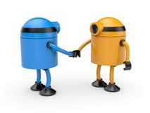 Apretón de manos Unión de dos robots Imágenes de archivo libres de regalías