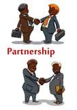 Apretones de manos del negocio de hombres de negocios felices Imagen de archivo libre de regalías