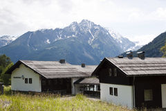 Apriacher elementary school, Hohe Tauern. Elementary school of Apriach in Carinthia against the background of the Glockner mountains, the highest mountains of Royalty Free Stock Images