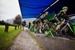 Aprica, Ιταλία 26 maggio 2015  Επαγγελματικοί ποδηλάτες πριν από ένα στάδιο του γύρου της Ιταλίας 2015 Στοκ Φωτογραφίες